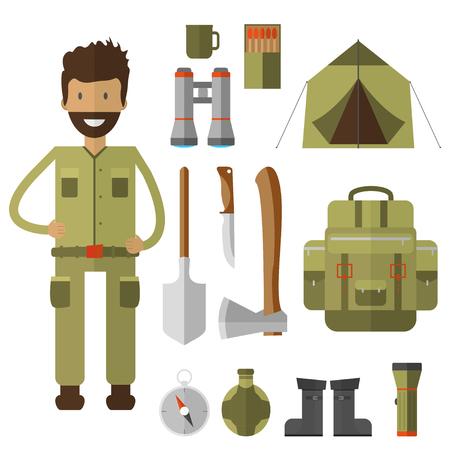 flashlights: Mountain camping equipment icon. Illustration
