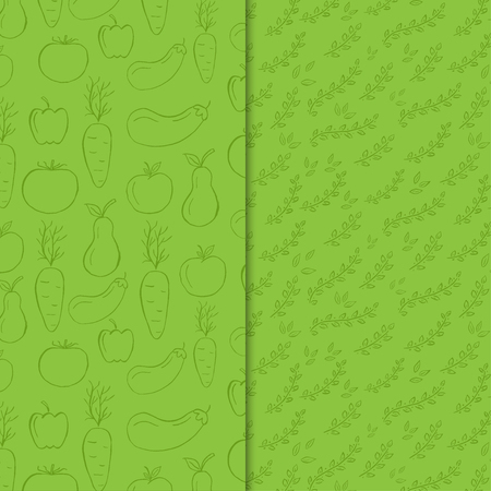 Two seamless and fresh pattern with branches,leaves for organic labels, healthy food packaging, natural cosmetics, shop, fabric, vegan products. Green vector background.