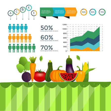 Healthy vegetables infographics with chart and graph. Quality vector illustration about diet, eco food, benefits of vegan and nutrition concept. Çizim