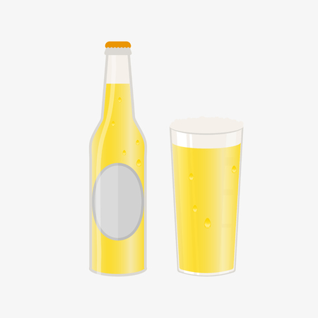 Set of beer bottle, mugs and glasses. Vector icon with alcoholic beverages. Wheat beer, lager, craft beer, ale. Illustration
