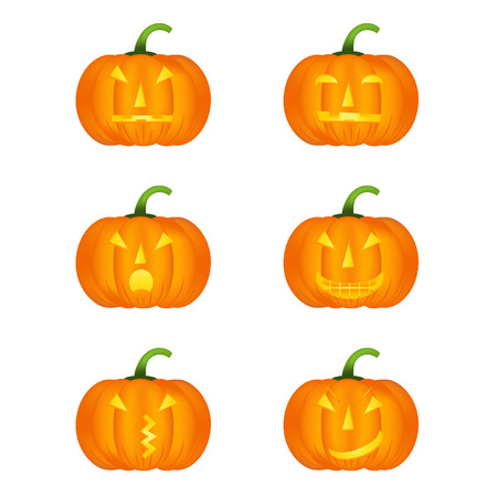 cute ghost: Halloween pumpkin vector icons set, emotion variation, emoji. Simple flat style design elements.  Different funny and horror face expressions.