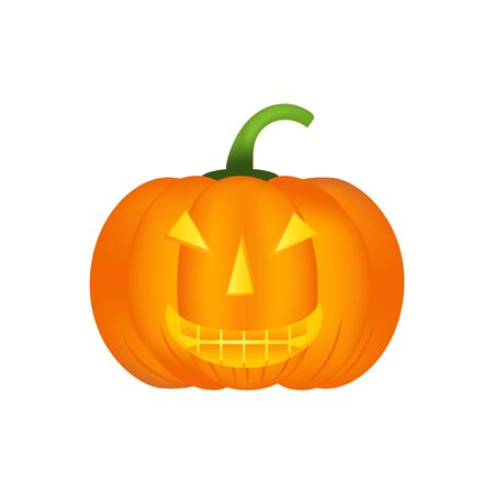 Halloween pumpkin vector icon, emotion variation, emoji. Simple flat style design elements.  Different funny and horror face expressions. Illustration