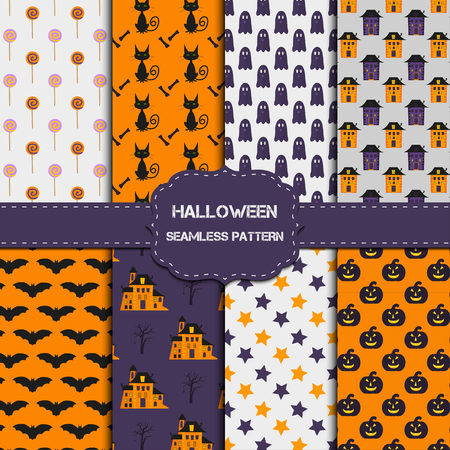 ghost house: Collection of 8 halloween patterns with endless texture. Vector background can be used for wallpaper, fills, web page,surface, scrapbook,  holiday card, invitation and party design.