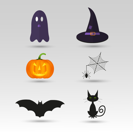 Set of cute vector Halloween icons of pumpkin, castle, cat, ghost, candy, bat, hat. Elements, objects for holiday card, invitation and party design. Illustration