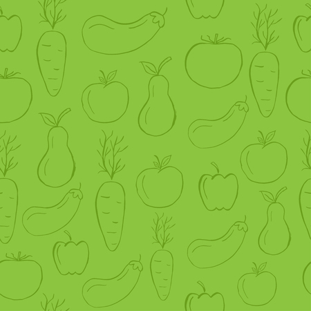 Seamless and fresh pattern with vegetables for organic labels, healthy food packaging, natural cosmetics, shop, fabric, vegan products. Green vector background.