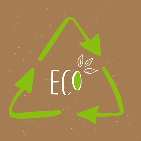 Recycle sticker. Organic, vegan  food tag. Green design elements. Eco friendly sign, paper price label, shopping concept