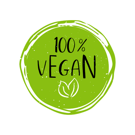 Vector round eco, bio green logo or sign. Vegan, raw, healthy food badge, tag for cafe, restaurants, packaging. Hand drawn circle, leaves, plant elements with lettering. Organic design template.