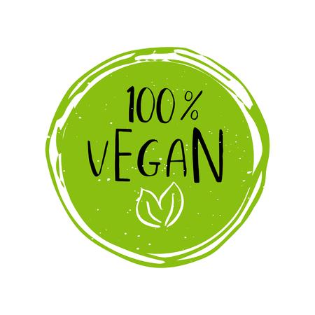 Vector ronde eco, bio groen logo of teken. Veganist, rauw, gezond voedselbadge, markering voor koffie, restaurants, verpakking. Hand getrokken cirkel, bladeren, plant elementen met belettering. Organisch ontwerpsjabloon.