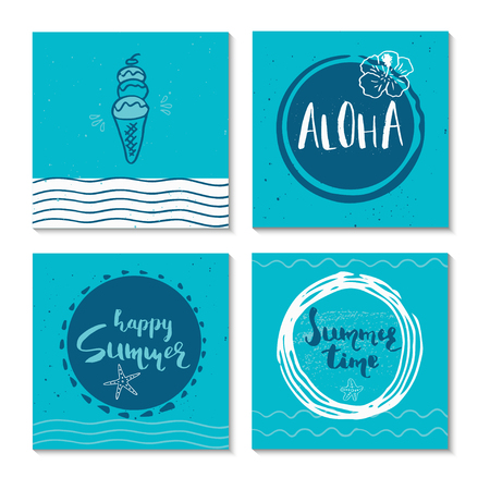 vintage postcard: Set of 4  beautiful summer poster with hand drawn lettering. Collection of template for sail, tropical vacation, banner, invitation, envelope, background, journal cards.