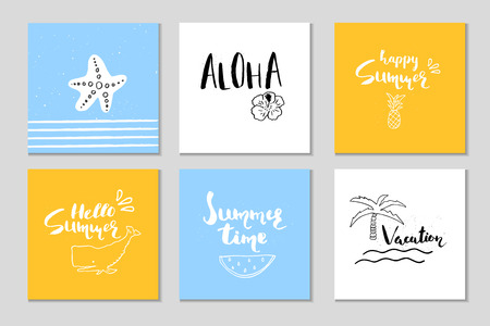 vintage postcard: Beautiful summer poster with hand drawn lettering.  Template for sail, tropical vacation, banner, invitation, envelope, background, journal cards