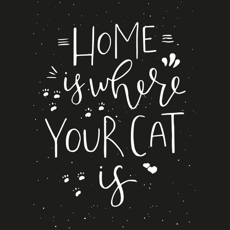 Home is where your cat is - hand drawn typography design. Vector lettering for card, poster, banner, t-shirts, invitations, stickers, advertisement. Motivational phrase, quote.
