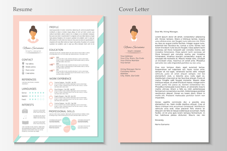 Feminine Resume And Cover Letter With Infographic Design. Stylish CV ...