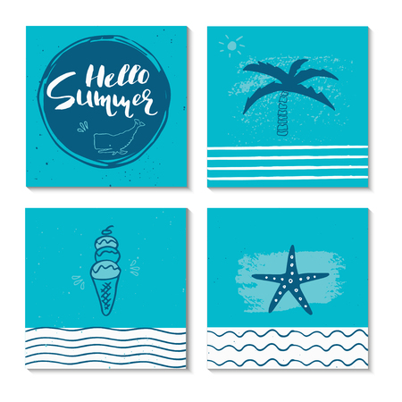 vintage postcard: Beautiful summer poster with hand drawn lettering.  Template for sail, tropical vacation, banner, invitation, envelope, background, journal cards. Indian blue collection
