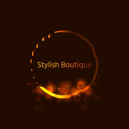 royals: Gold Emblem of the weaving shiny circle. Stylish logo design  for royalty, business card, boutique, hotel, web. Vector shimmer illustration.