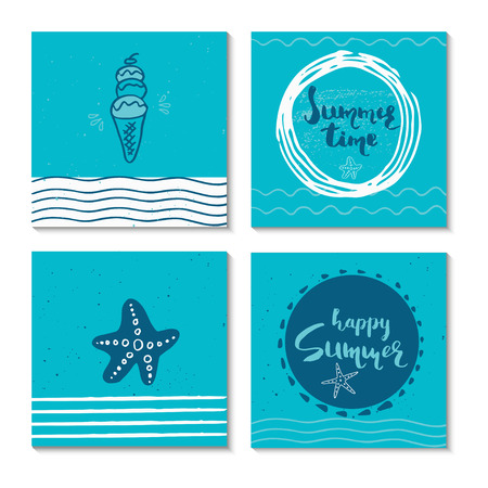 hand print: Set of 4  beautiful summer poster with hand drawn lettering. Collection of template for sail, tropical vacation, banner, invitation, envelope, background, journal cards.