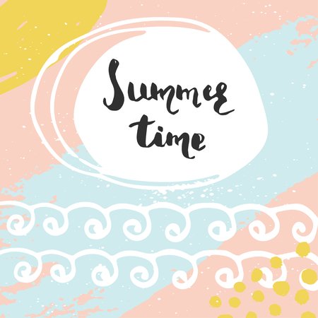 hand print: Beautiful summer poster with hand drawn lettering. Template for sail, tropical vacation, banner, invitation, envelope, background, journal cards Illustration
