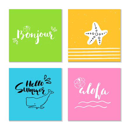 hand print: Collection of 4 beautiful summer poster with hand drawn lettering.  Template for sail, tropical vacation, banner, invitation, envelope, background, journal cards. Illustration