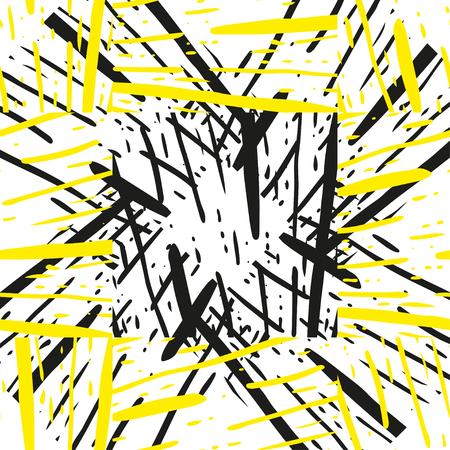 グランジ ストライプの黒と黄色のテクスチャです。Astract 筆を使って幾何学的シームレス パターン。手描きイラスト背景。  イラスト・ベクター素材