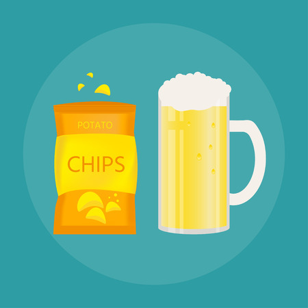 Set of beer mug and snack made in flat style. Light beer with crispy potato chips. Illustration