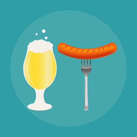 Set of beer bottle, mug and snack made in flat style. Light beer with crispy potato chips and sausages. Illustration