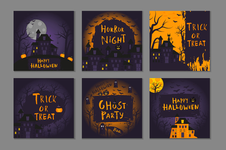 Collection of 6 happy halloween  poster design with traditional symbols and hand drawn lettering. Vector illustration can be used for wallpaper, web page, holiday card, invitation and party design.