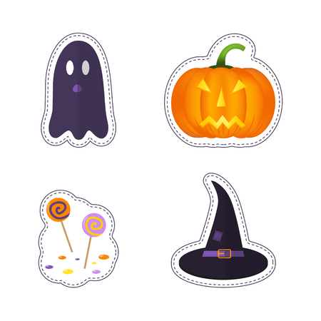 Happy Halloween patch badges with ghost, pumpkin, bat, cat, candy and other symbols of holidays. Isolated illustrations - great for stickers, embroidery, badges.