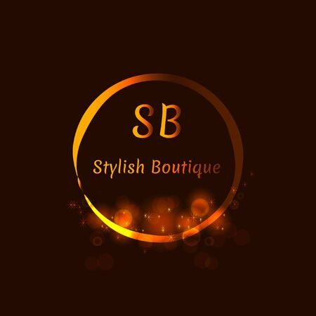 floral: Gold Emblem of the weaving shiny circle. Stylish logo design  for royalty, business card, boutique, hotel, web. Vector shimmer illustration.
