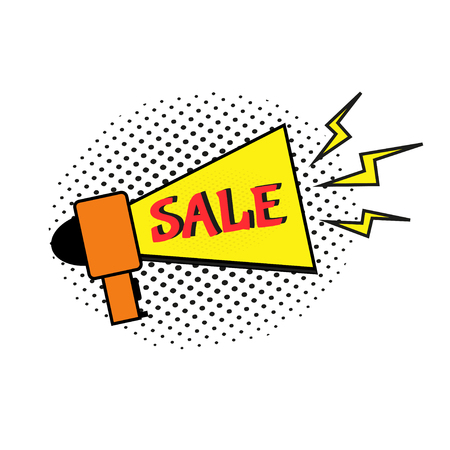 Sale comic text speech. Promo bubble phrase on white background. Vector offer template for social media website, poster, flyer, email, newsletter, advertisement, promotional material.