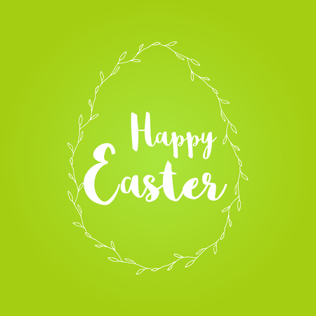 Colorful Happy Easter greeting card with text. Postcard  templates with message. Modern lettering  calligraphy style.