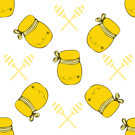 Vector packaging template with seamless honey pattern. Beekeeper background. Natural and organic honey collection with jar.
