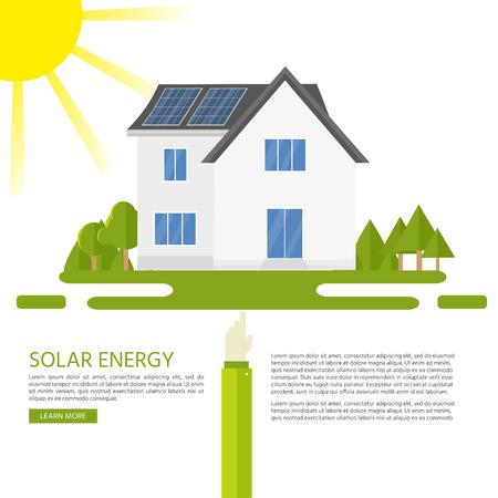 Casa moderna limpia con paneles solares. Energía alternativa respetuosa con el medio ambiente. Infografía del ecosistema. ilustración vectorial Foto de archivo - 88003093