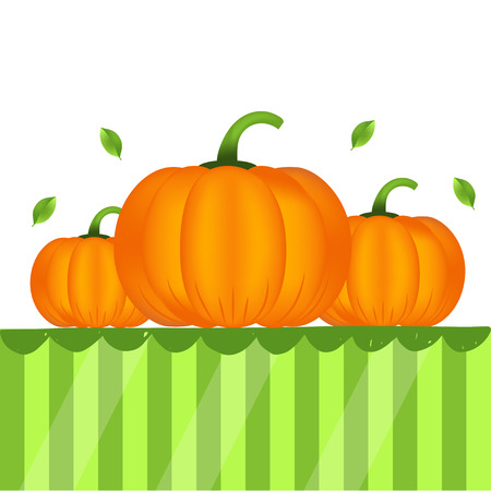 Ripe realistic healthy pumpkins on table. Quality vector banner about diet, eco food.
