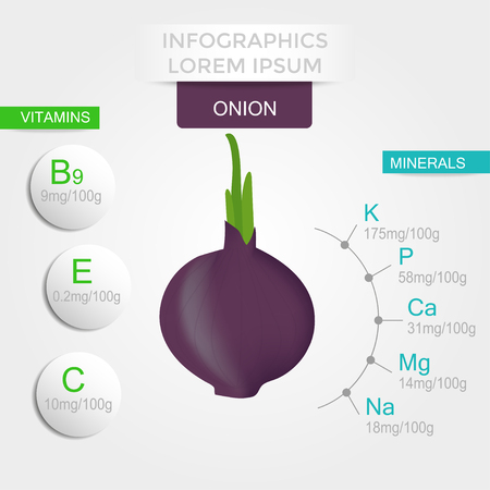 Healthy vegetables infographics with onion, vitamins and minerals. Quality vector illustration about diet, eco food, benefits of vegan and nutrition concept.  イラスト・ベクター素材