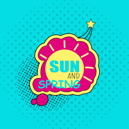 Spring sticker, badge with text, label. Pop art object on a color background. Vector illustration.
