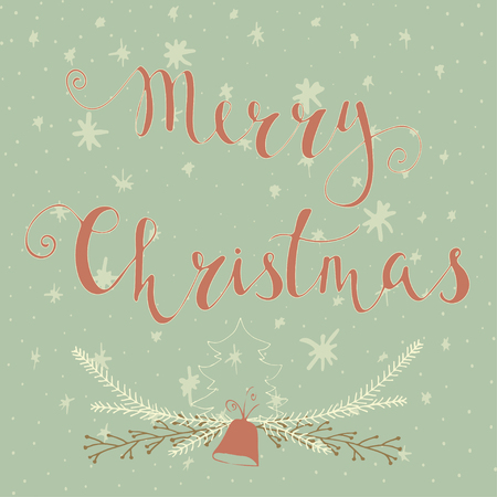 Merry christmas text label on a winter background with snow merry christmas text label on a winter background with snow and snowflakes greeting card template m4hsunfo