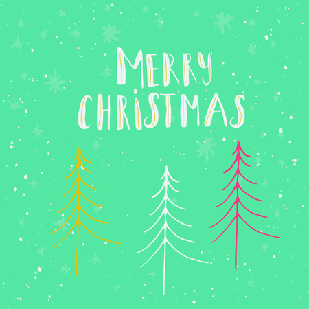 Merry Christmas lettering and calligraphy design. Greeting card template. Handwritten  poster for T-shirt design, card design or home decor element. Vector typography