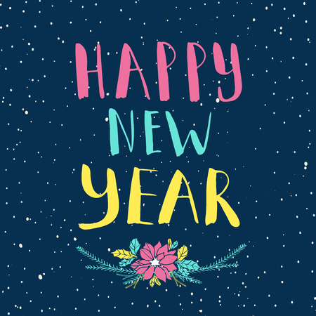 happy new year lettering and calligraphy design greeting card template handwritten poster for t