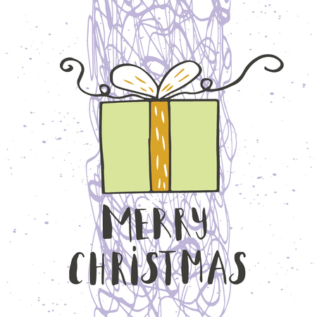 Merry Christmas text on a winter background with snow, tree and snowflakes. Greeting card template, poster with hand drawn quote. T-shirt design, card design or home decor element. Vector.