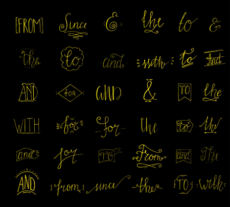 Collection of hand sketched ampersands and catchwords for your design. And, with, for, from, since, the, to, by. Decorative elements. Retro elements with swirls. Hand drawn lettering. Illustration