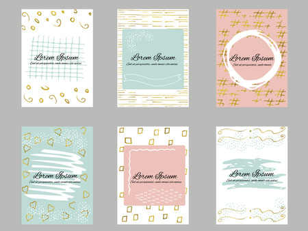 Set of 6 gold, blue, pink and white business card template or gift cards. Texture of gold foil. Luxury vector illustration. Easy editable template. Space for text.