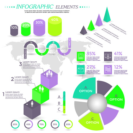Infographic Elements Collection - Business Vector Illustration in flat design style can be used for workflow layout, banner, number options, step up options, web design, presentation, booklet, website,  etc.  Timeline vector.