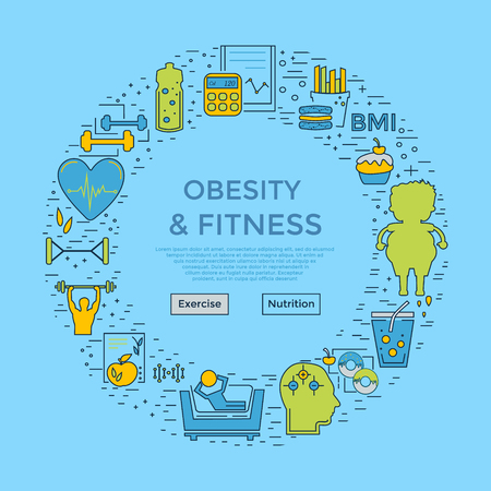 Web page design template with different obese and fitness and icons. Unique design concept for obesity problems site. Website background. Illustration