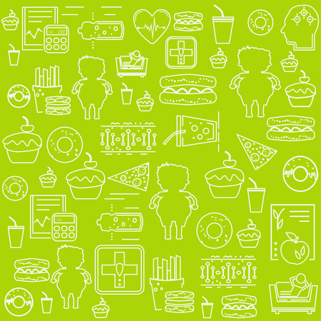 Simple seamless obesity background pattern. Concept of obesity, related  disease. Website background. Illustration