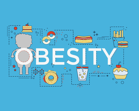 Obesity flat design with icons and lettering for book cover, report header, presentation, infographics, printing, website banner, flyer and landing page. Ilustrace