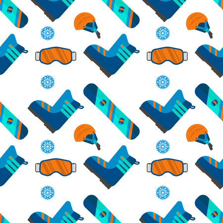 Winter sport seamless pattern. Skiing and snowboarding set equipment isolated on white background in flat style design for decorative wallpaper, printing, backdrop, scrapbook.