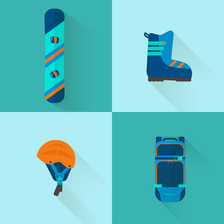 4 Winter sport icons collection. Skiing and snowboarding set equipment  in flat style design. Elements for ski resort picture, mountain activities, vector illustration. Ilustrace