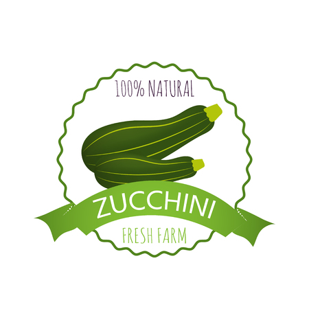 Collection of Badge, logo or tag with realistic healthy vegetables such as: carrot, tomato, pepper, eggplant, pumpkin, marrow, zucchini. Quality vector banner about diet, eco food
