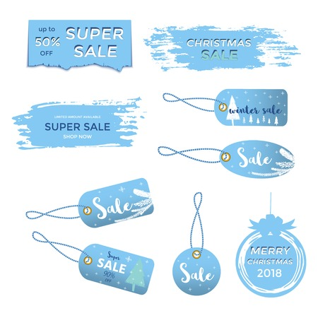 Winter social media sale banners and ads, web template collection, Christmas illustration for mobile website posters, email and newsletter designs, promotional material.