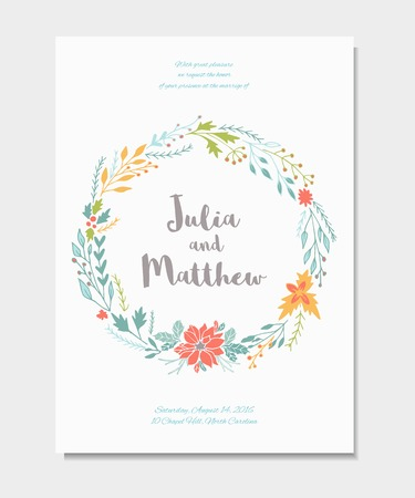 Wedding invitation with floral wreath flowers vector template vector template for birthday baby shower menu banner with calligraphy thank you and save the date card elegant hipster rustic background maxwellsz
