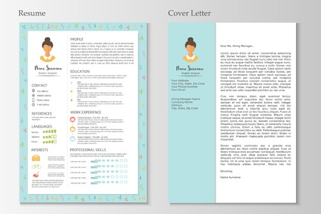 Feminine resume and cover letter with infographic design. Stylish CV set for women. Clean vector.  イラスト・ベクター素材